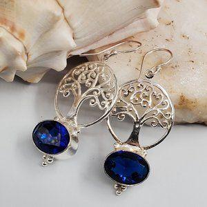 Natural Blue Quartz Silver Earrings